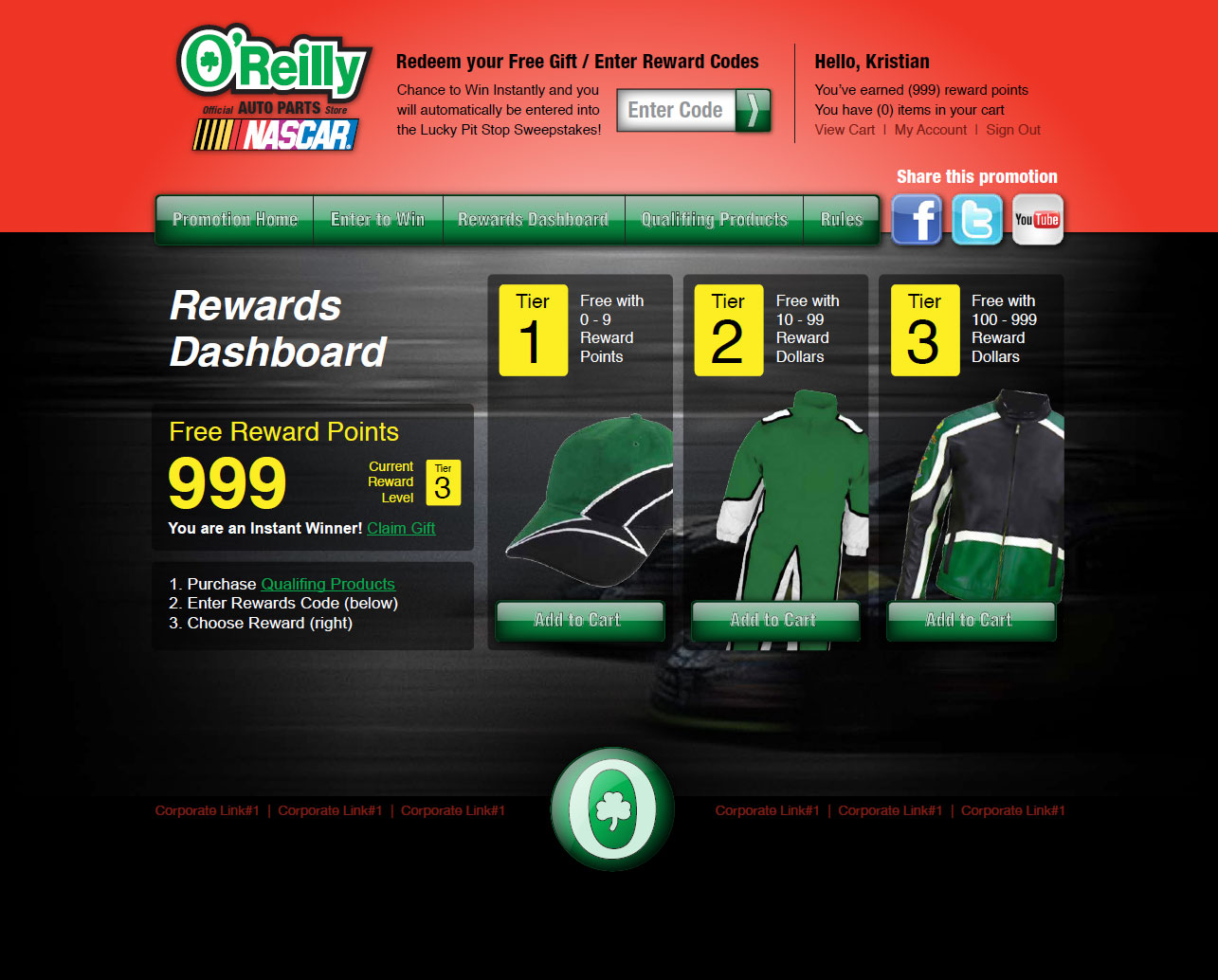 NASCAR O'Reilly - Sweepstakes Campaign Websites | Ethium | The